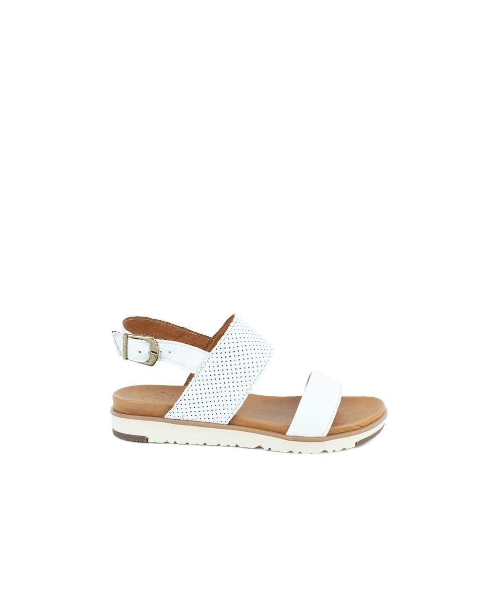 Sandalia plana piel blanca y cuero