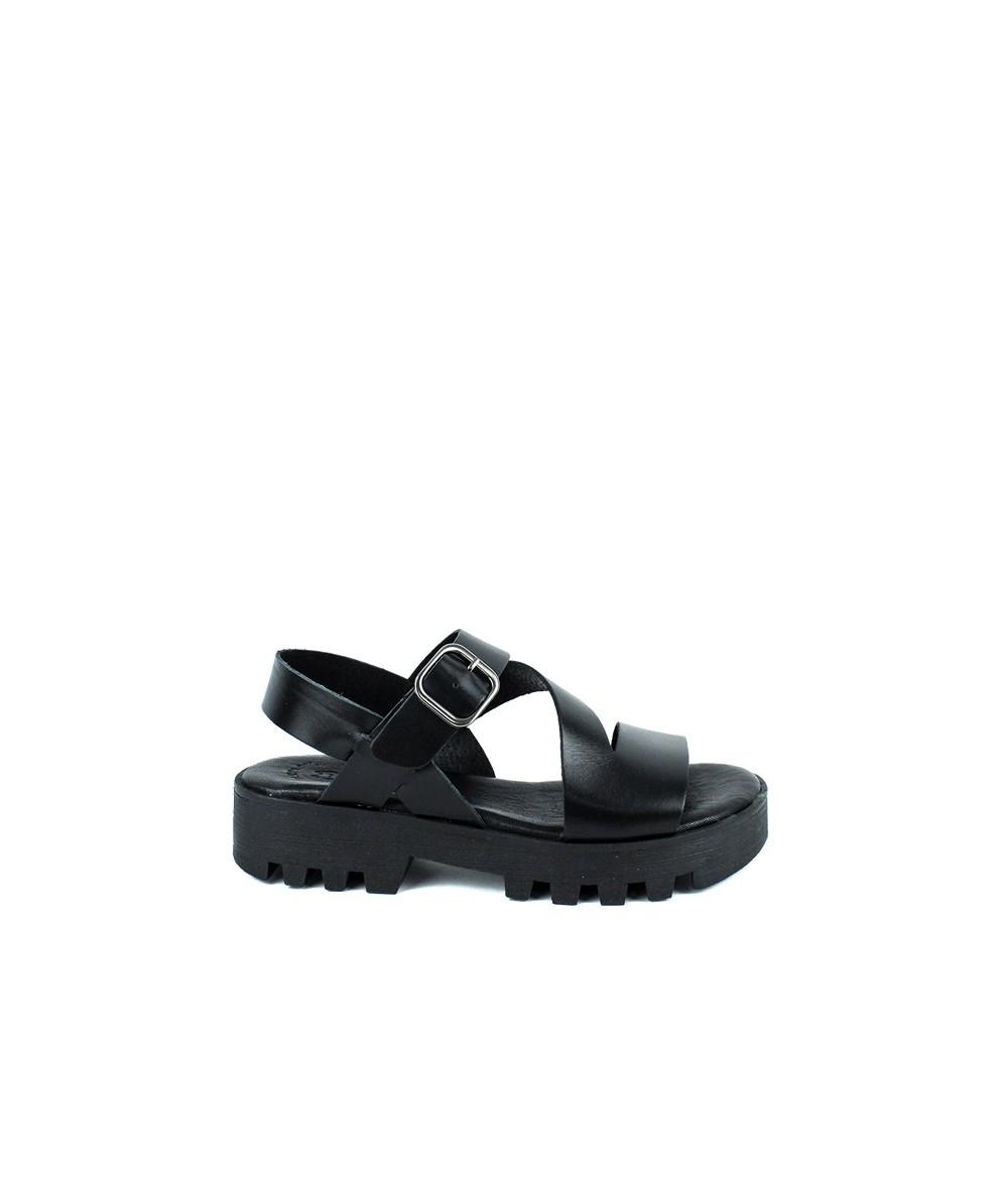 LOOPO - Sandalia plataforma de piel negra