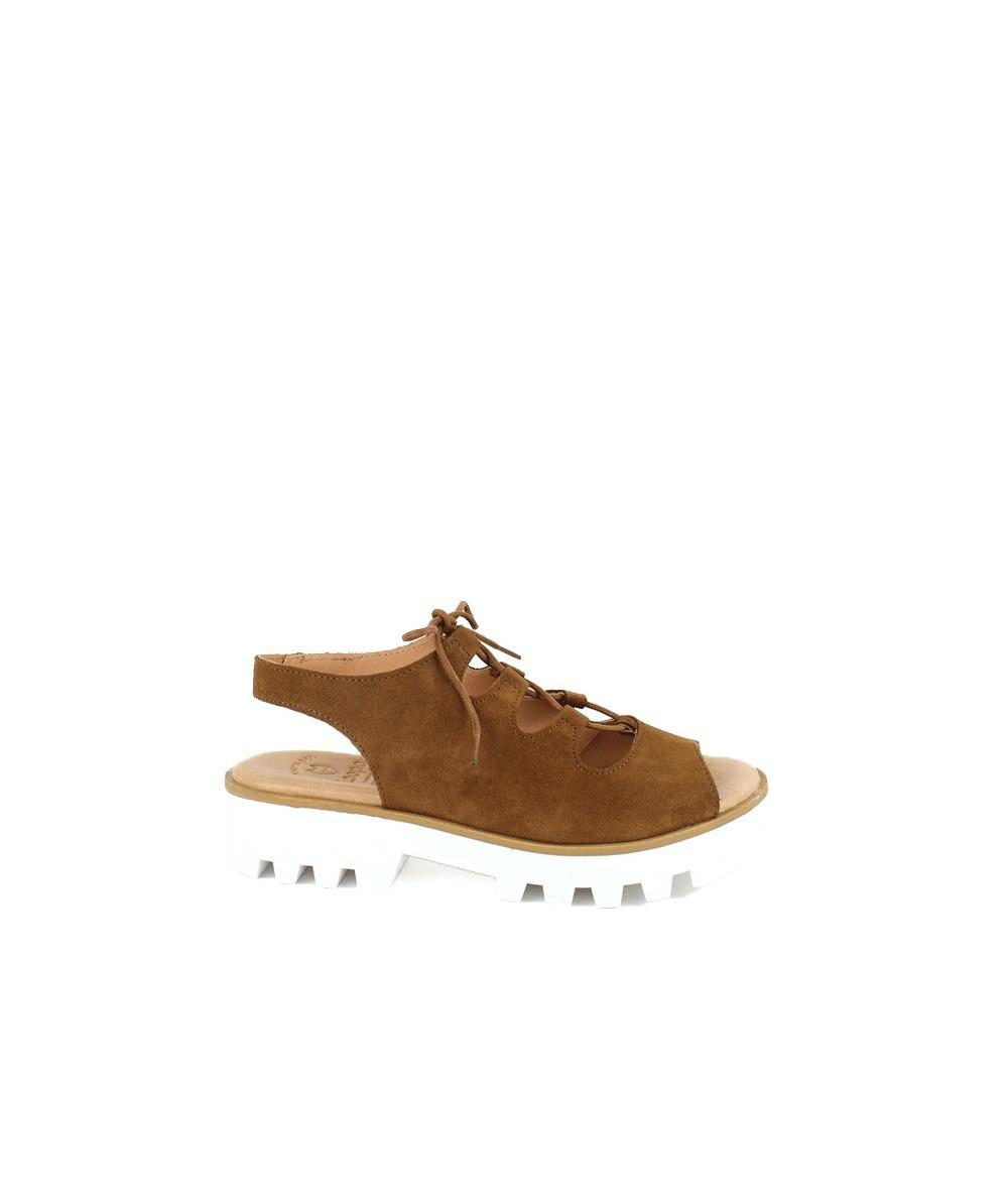 LOOPO - Sandalia plataforma de piel cuero y cordones