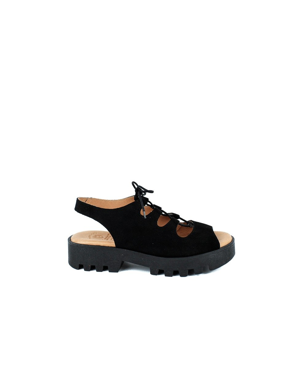 LOOPO - Sandalia de piel negra con cordones