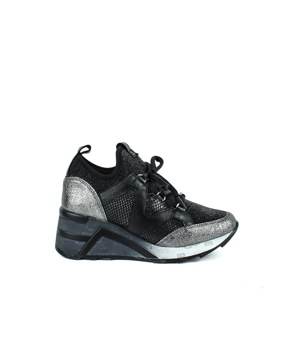 CETTI - Zapatilla negra con cuña calcetín