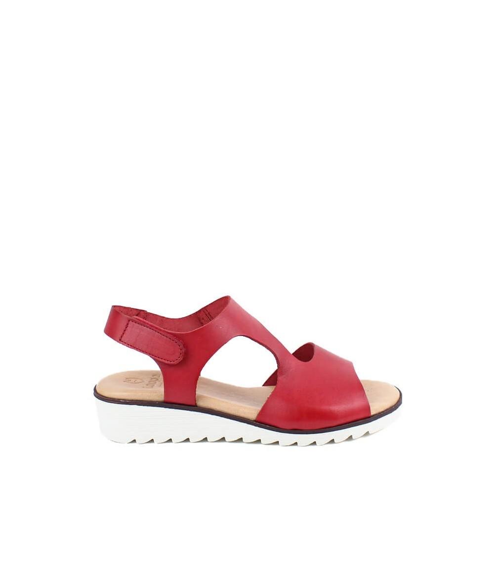 LOOPO - 309 - Sandalia Roja Velcro