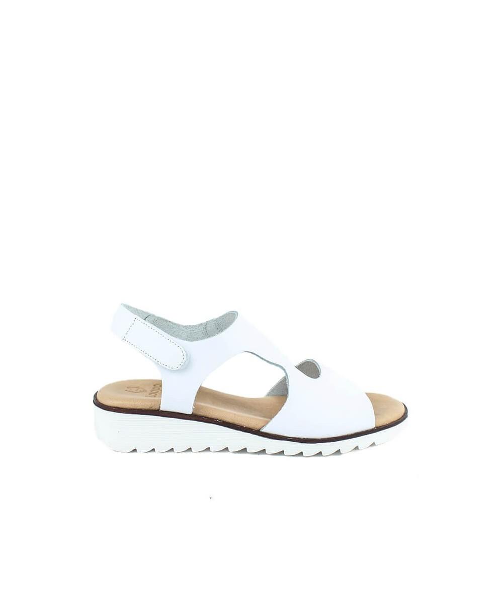 LOOPO - 309 - Sandalia Blanca Velcro