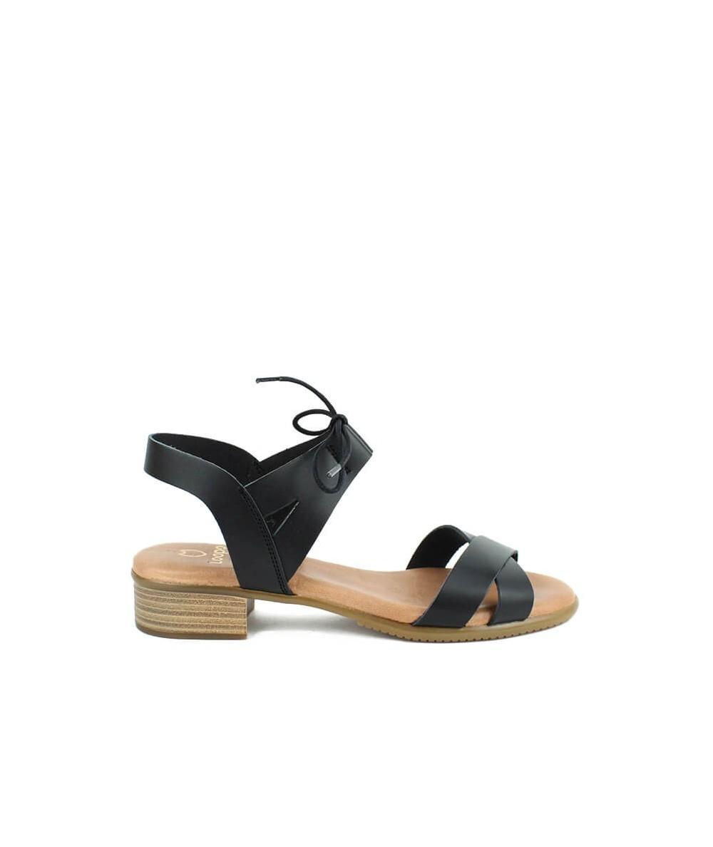 LOOPO - 1291 - Sandalia Negra Cordón Pulsera