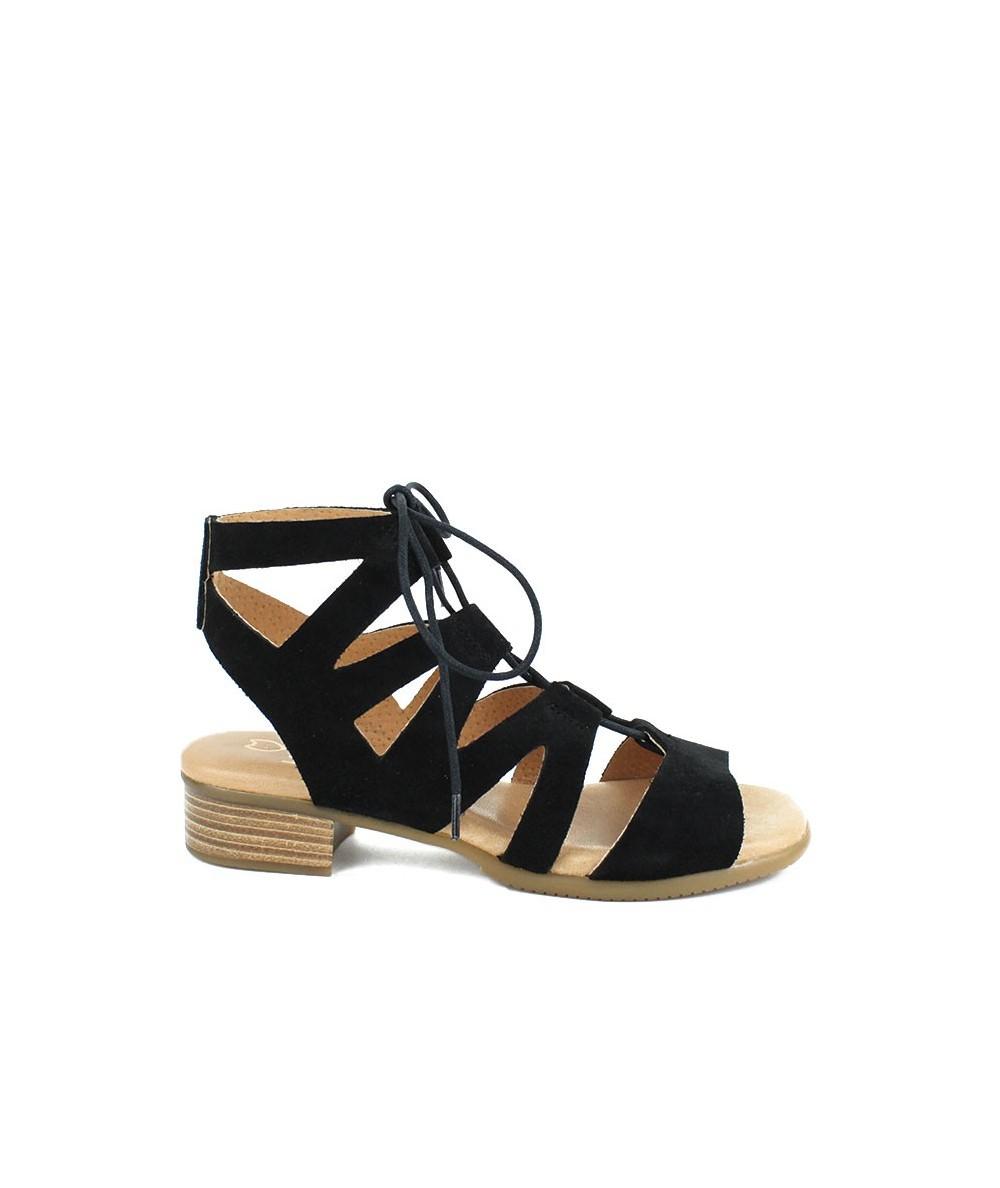 LOOPO - 295 - Sandalia Negra Romana cordones
