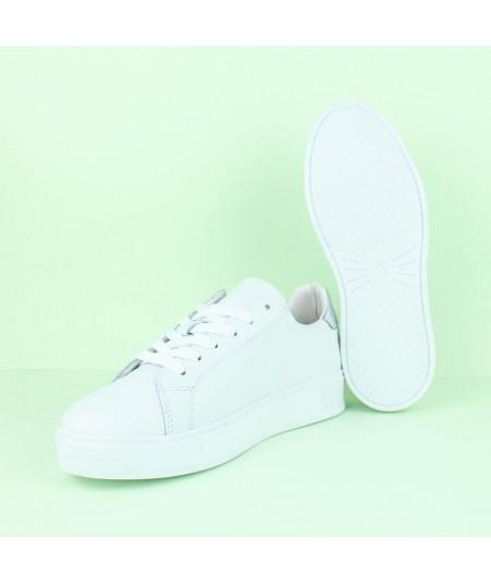 Zapatilla Blanca - 071042 - piel blanca plata
