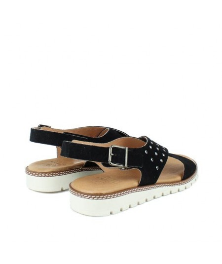 LOOPO - Sandalia negra cruzada tachas