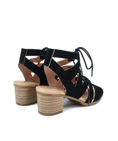 LOOPO - 286 - Sandalia romana negra