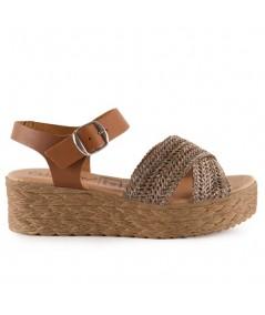 Comprar sandalias online, sandalia rafia con pulsara de cuero.