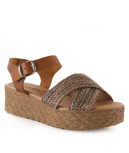 Sandalia rafia con pulsara de cuero, tienda online, comprar sandalias.
