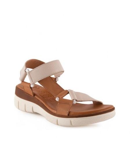 Sandalia beige y camel, velcro, sandalias tienda online.