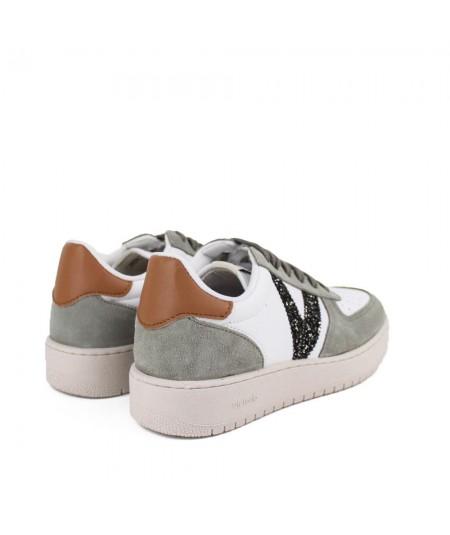Zapatilla blanca kaki V en glitter